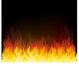Realistic flame with black background vector 03