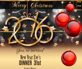 Red christmas ball with 2016 new year vector 01