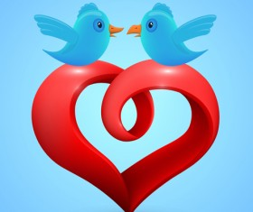Red heart with blue birds vector