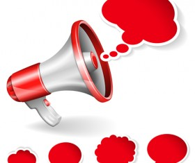 Red megaphone with text bubbles vector