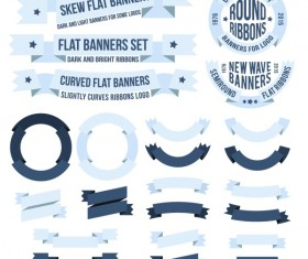 Ribbon frame with banners vintage vector