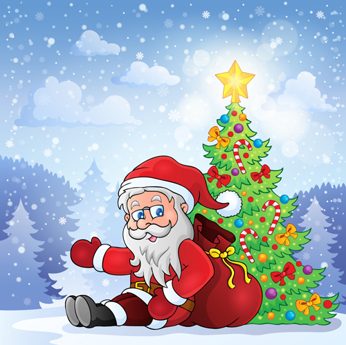 Cute cartoon christmas santa - photo#12