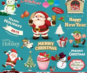Santa with christmas baubles and labels vector