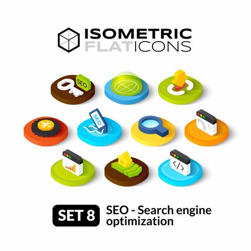 Search engine optimization icons vectors set 01