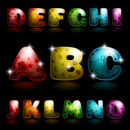 Shiny alphabet letters cartoon styles vector 01
