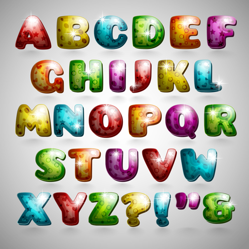 shiny alphabet letters cartoon styles vector 02