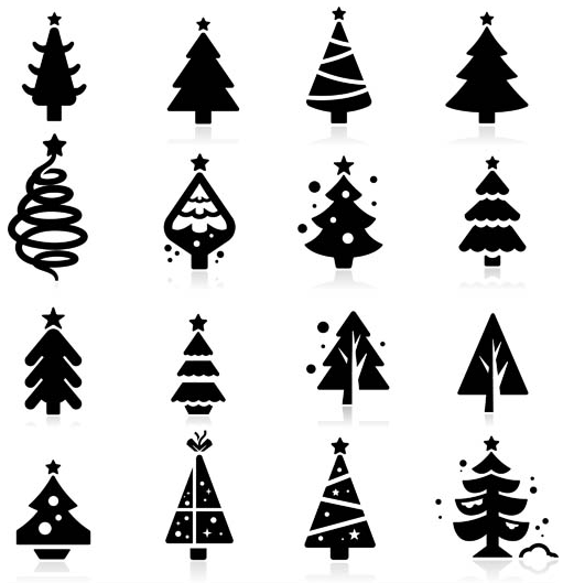 Vector Christmas Tree.Silhouettes Christmas Trees Set Vector Free Download