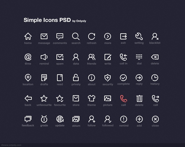 Simple computer icons psd material