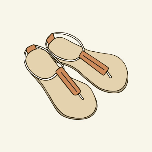 Slippers hand drawn vector 01