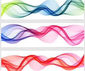 Smoke with wavy abstract banners set 03