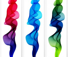 Smoke with wavy abstract banners set 13