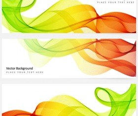 Smoke with wavy abstract banners set 15