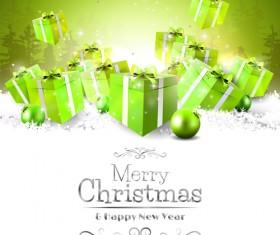 Snow card with christmas balls green gift boxs vector