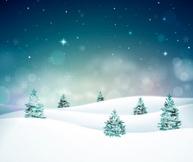 Snow mountain with christmas tree vector