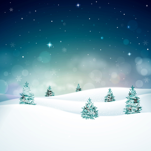 Mountain Christmas Tree.Snow Mountain With Christmas Tree Vector Free Download