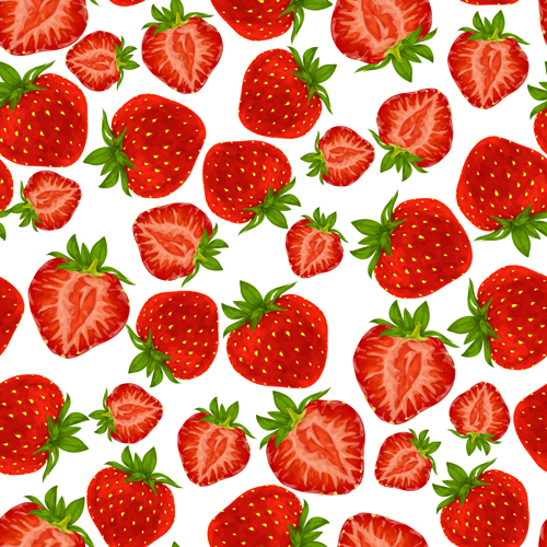 Strawberry Pattern Seamless Vector Vector Pattern Free