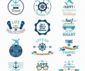 Summer travel labels retro vector