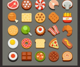 Sweet food fast icons set