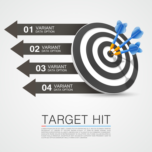 Target hit with infographics vector 01
