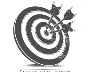 Target with darts vector illustration vector 01