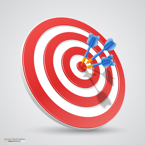 Target with darts vector illustration vector 02