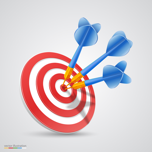 Target with darts vector illustration vector 03