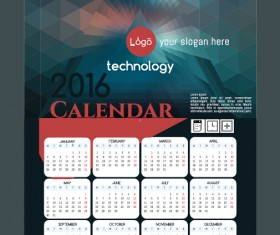 Technology background with 2016 calendar vector 02