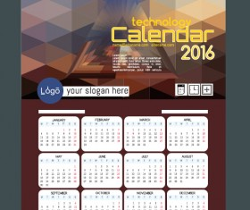 Technology background with 2016 calendar vector 03