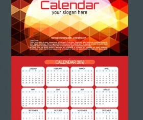 Technology background with 2016 calendar vector 04