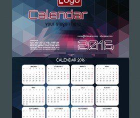 Technology background with 2016 calendar vector 07