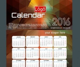 Technology background with 2016 calendar vector 08