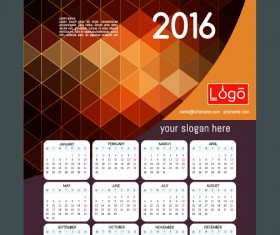 Technology background with 2016 calendar vector 09