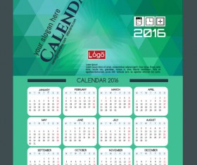Technology background with 2016 calendar vector 11