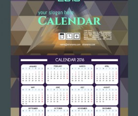 Technology background with 2016 calendar vector 12