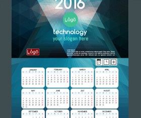 Technology background with 2016 calendar vector 13