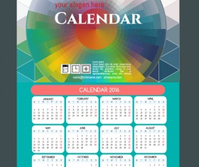 Technology background with 2016 calendar vector 14