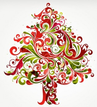 Christmas tree colorful vectors graphics