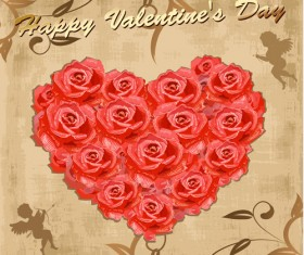 Valentine day vintage background with rose heart vector