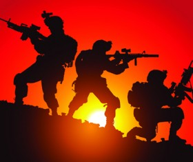 Vector soldiers silhouetter set 08