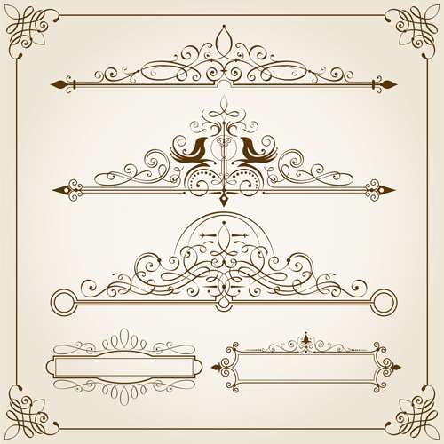 Vintage calligraphic frames with border vector free