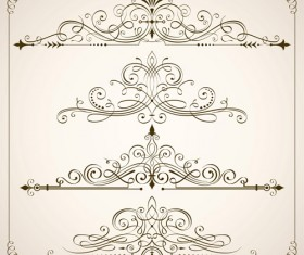 Vintage calligraphic frames with border vector 05