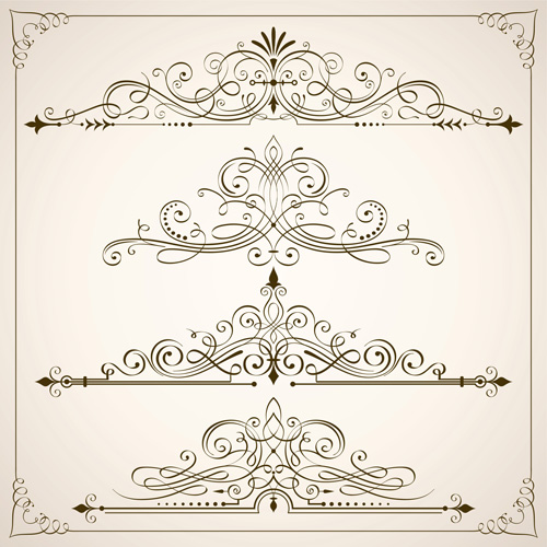 Vintage calligraphic frames with border vector