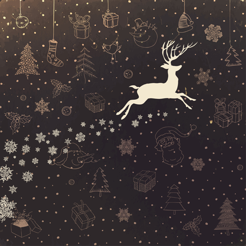 Vintage christmas background with deer vector - Vector Background ...