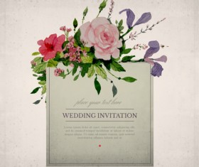 Vintage flower wedding invitation cards vector 01