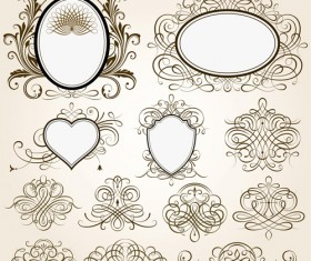 Vintage frames with calligraphic ornaments vector 01