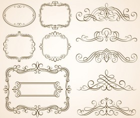 Vintage frames with calligraphic ornaments vector 02