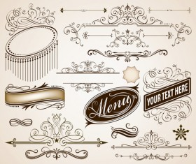 Vintage frames with calligraphic ornaments vector 03