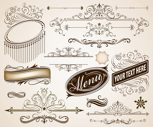 Vintage frames with calligraphic ornaments vector