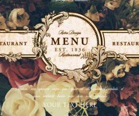 Vintage restaurant menu cover with flower blurs background vector 07
