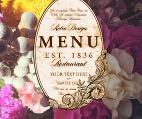 Vintage restaurant menu cover with flower blurs background vector 08